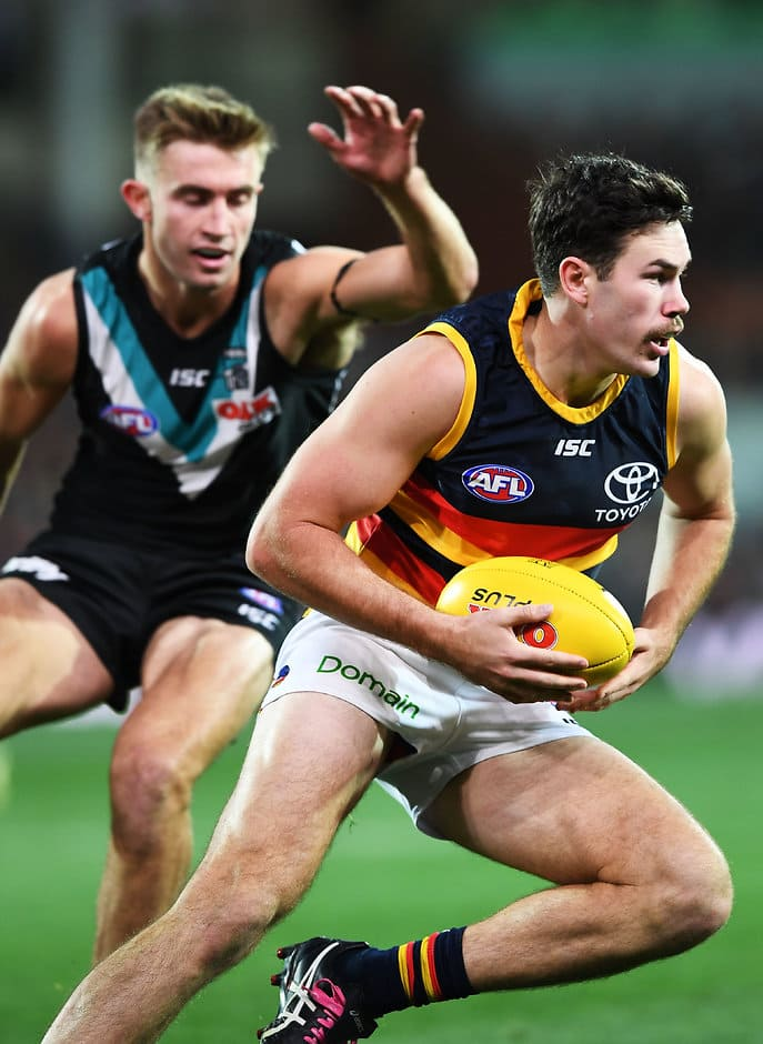 ADELAIDE, AUSTRALIA - MAY 12: Mitch McGovern of the Adelaide Crows  during the round eight AFL match between the Port Adelaide Power and the Adelaide Crows at Adelaide Oval on May 12, 2018 in Adelaide, Australia.  (Photo by Mark Brake/Getty Images/AFL Media)