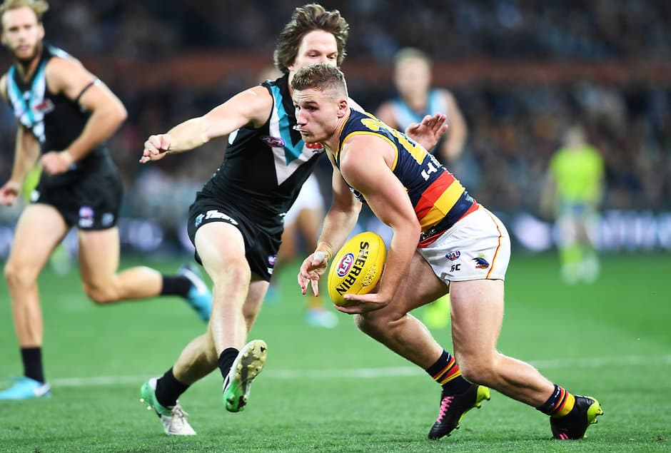 ADELAIDE, AUSTRALIA - MAY 12: Rory Laird of the Adelaide Crows under pressure from Jared Polec of Port Adelaide  during the round eight AFL match between the Port Adelaide Power and the Adelaide Crows at Adelaide Oval on May 12, 2018 in Adelaide, Australia.  (Photo by Mark Brake/Getty Images/AFL Media)