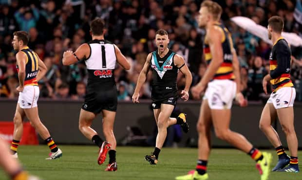 ADELAIDE, AUSTRALIA - MAY 12: Robbie Gray of the Power celebrates a goal during the 2018 AFL round eight match between the Port Adelaide Power and the Adelaide Crows at Adelaide Oval on May 12, 2018 in Adelaide, Australia. (Photo by James Elsby/AFL Media)
