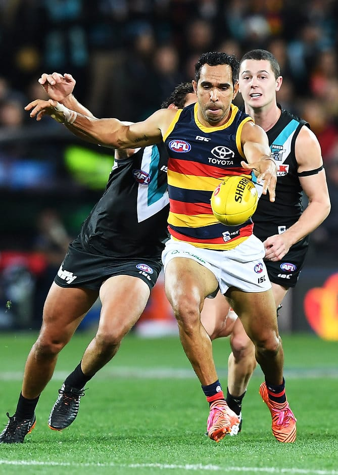 ADELAIDE, AUSTRALIA - MAY 12: Eddie Betts of the Adelaide Crows  during the round eight AFL match between the Port Adelaide Power and the Adelaide Crows at Adelaide Oval on May 12, 2018 in Adelaide, Australia.  (Photo by Mark Brake/Getty Images/AFL Media)
