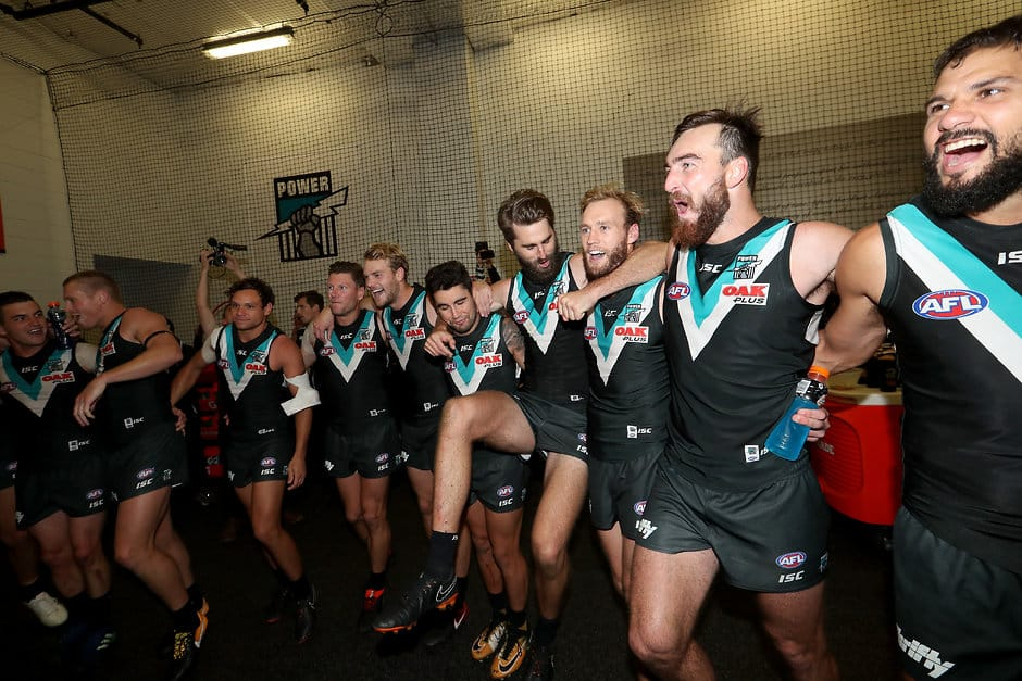 ADELAIDE, AUSTRALIA - MAY 12: The Power celebrate their win during the 2018 AFL round eight match between the Port Adelaide Power and the Adelaide Crows at Adelaide Oval on May 12, 2018 in Adelaide, Australia. (Photo by James Elsby/AFL Media)