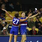MELBOURNE, AUSTRALIA - MAY 12:  Marcus Bontempelli of the Bulldogs celebrates after kicking a goal during the 2018 AFL round eight match between the Western Bulldogs and the Brisbane Lions at Etihad Stadium on May 12, 2018 in Melbourne, Australia. (Photo by Scott Barbour/AFL Media)