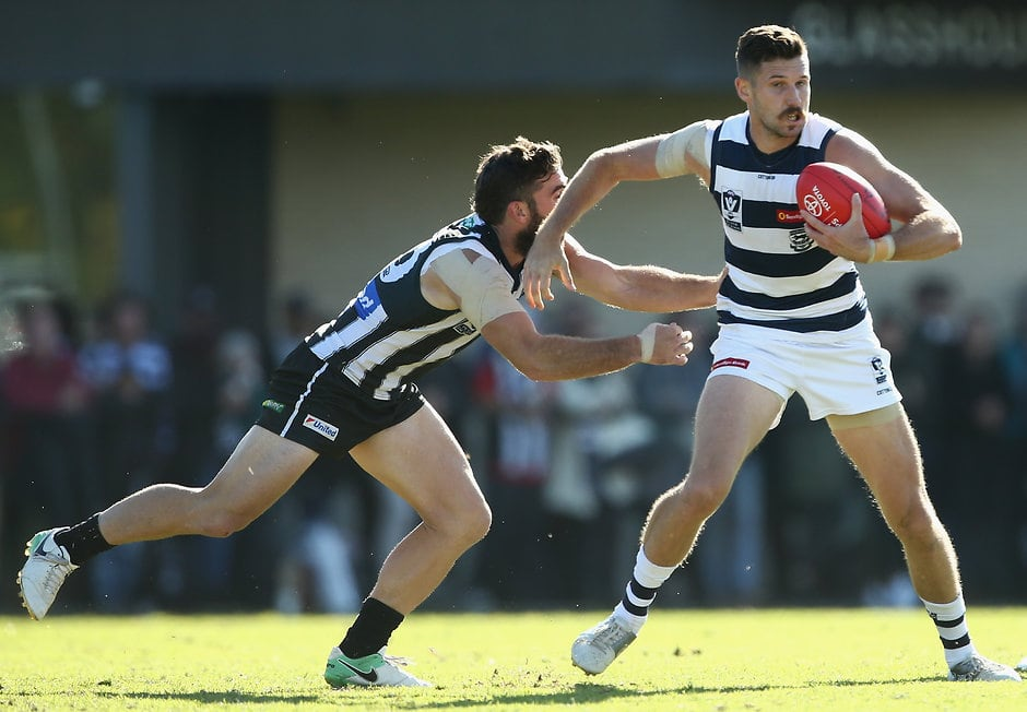 Aaron Black in action against Collingwood last year. - Geelong Cats,Cameron Guthrie
