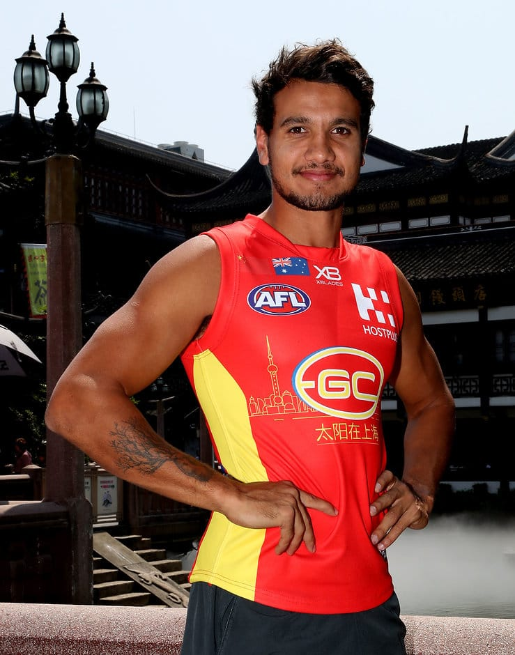 Callum Ah Chee poses at the Yu Garden in Shanghai on Wednesday - AFL,Gold Coast Suns,Callum Ah Chee
