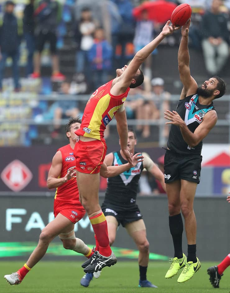 SHANGHAI, CHINA - MAY 19: Jarrod Witts of the Suns rucks against Paddy Ryder of the Power during the 2018 AFL round nine match between the Gold Coast Suns and the Port Adelaide Power at Adelaide Arena at Jiangwan Sports Stadium on May 19, 2018 in Shanghai, China. (Photo by Sean Garnsworthy/AFL Media)
