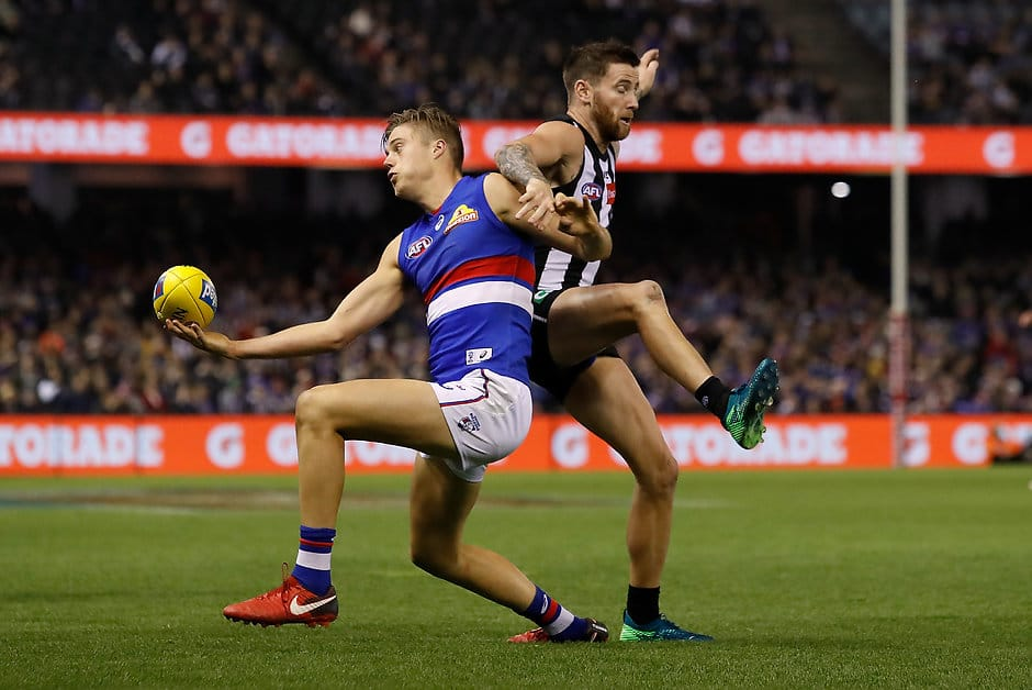 Josh Schache has slimmed down since arriving at VU Whitten Oval during the 2017 AFL Trade Period. (Photo: AFL Media) - Western Bulldogs