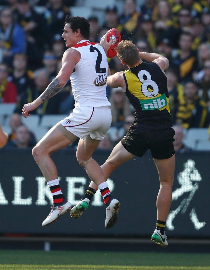Jake Carlisle clashes with Jack Riewoldt during last Saturday's game - AFL,St Kilda Saints,Jake Carlisle,Tribunal