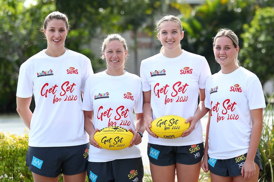 GOLD COAST, AUSTRALIA - JUNE 06:  Emma McKenzie, Sange Carter, Taylor Smith Dee Heslop pose during the Gold Coast Suns women's AFL media opportunity on June 6, 2018 in Gold Coast, Australia.  (Photo by Chris Hyde/Getty Images/AFL Media)