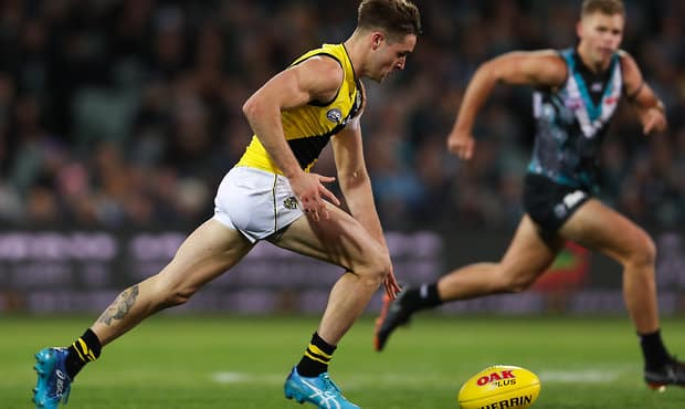 Jayden Short in action against Port Adelaide last Friday night - Jayden Short,Richmond Tigers,Adelaide Oval