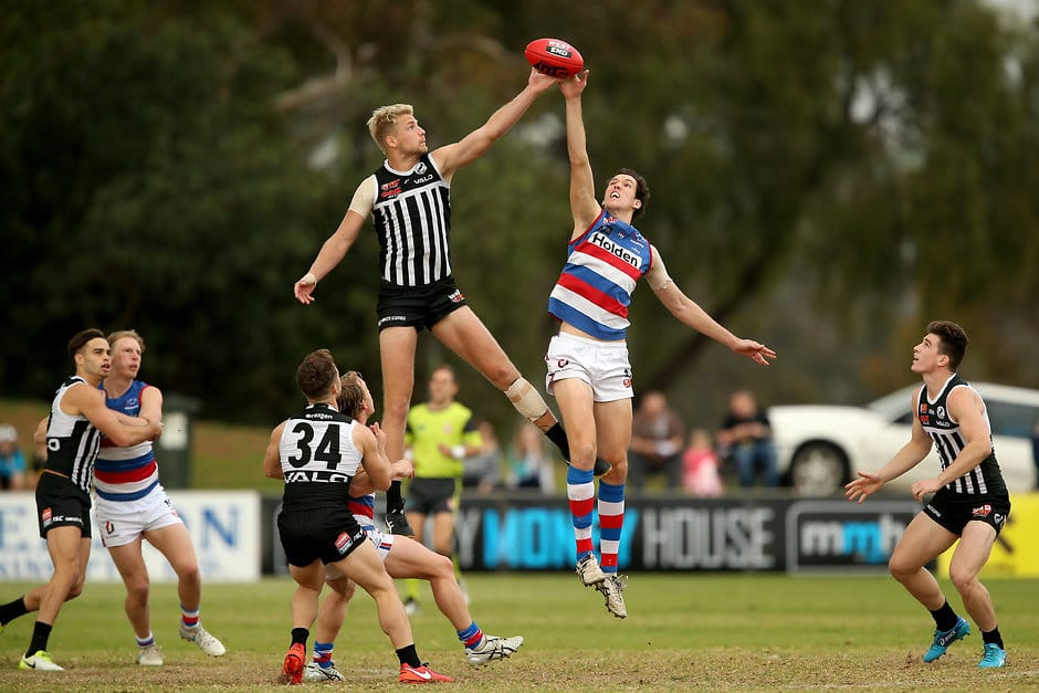 Darcy Fort (right) in action for the Bulldogs in the SANFL - AFL,Geelong Cats