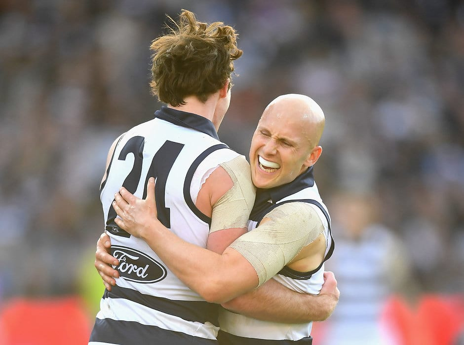 Ablett recorded 34 disposals, eight tackles and a goal against the Kangaroos - Geelong Cats