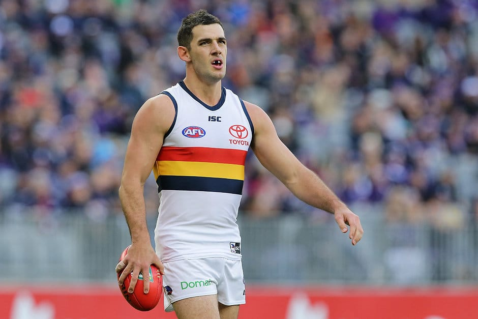 PERTH, AUSTRALIA - JUNE 10: Taylor Walker of the Crows looks to the goal during the 2018 AFL round 12 match between the Fremantle Dockers and the Adelaide Crows at Optus Stadium on June 10, 2018 in Perth, Australia. (Photo by Will Russell/AFL Media)