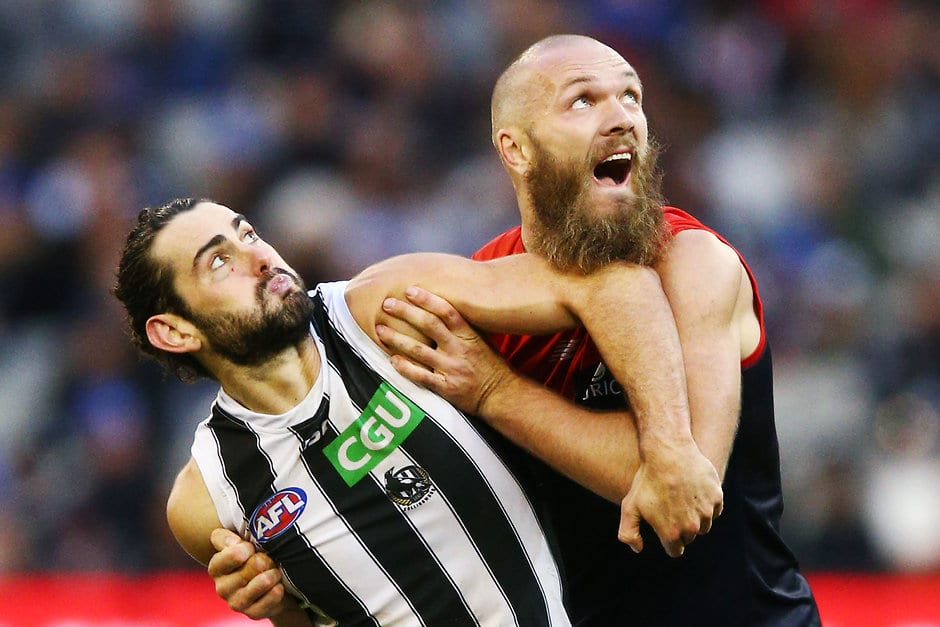 Brodie Grundy and Max Gawn will do battle at the Holden Centre on February 22 - Collingwood Magpies