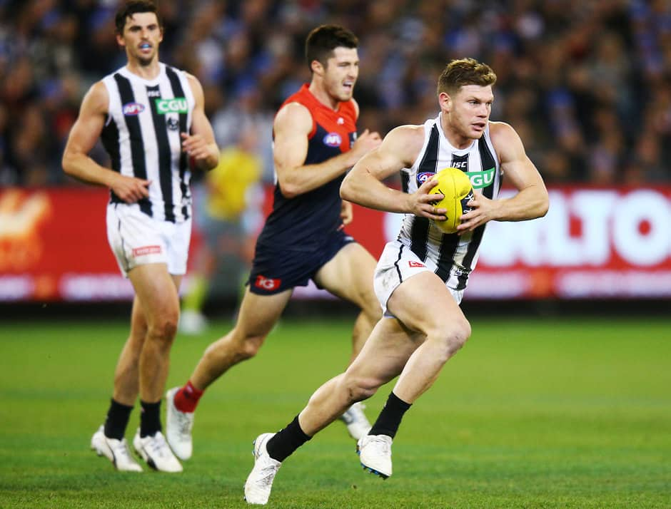 Taylor Adams in action against Melbourne - Collingwood Magpies