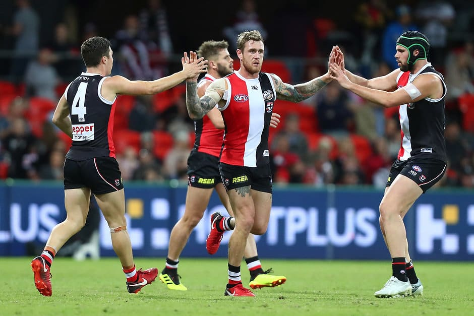 GOLD COAST, AUSTRALIA - JUNE 16:  Tim Membrey of the Saints celebrates a goal during the round 13 AFL match between the Gold Coast Suns and the St Kilda Saints at Metricon Stadium on June 16, 2018 in Gold Coast, Australia.  (Photo by Chris Hyde/Getty Images/AFL Media)
