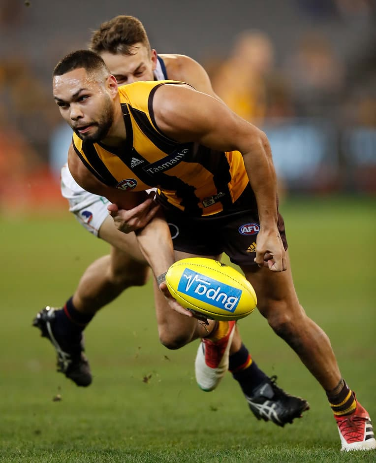 MELBOURNE, AUSTRALIA - JUNE 16: Jarman Impey of the Hawks in action during the 2018 AFL round 13 match between the Hawthorn Hawks and the Adelaide Crows at the Melbourne Cricket Ground on June 16, 2018 in Melbourne, Australia. (Photo by Michael Willson/AFL Media)