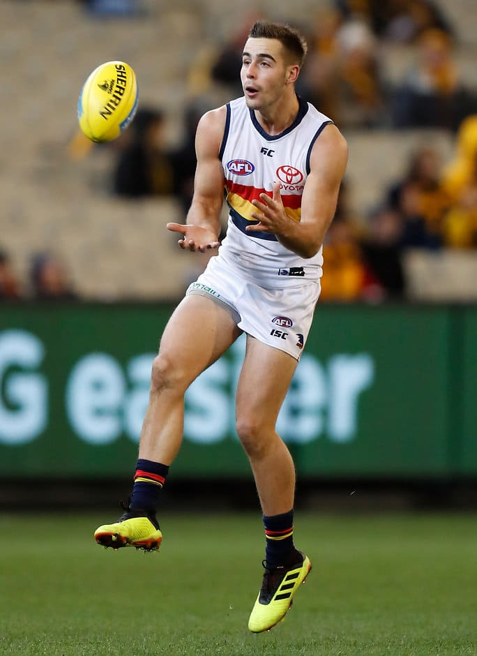 MELBOURNE, AUSTRALIA - JUNE 16: Myles Poholke of the Crows marks the ball during the 2018 AFL round 13 match between the Hawthorn Hawks and the Adelaide Crows at the Melbourne Cricket Ground on June 16, 2018 in Melbourne, Australia. (Photo by Michael Willson/AFL Media)