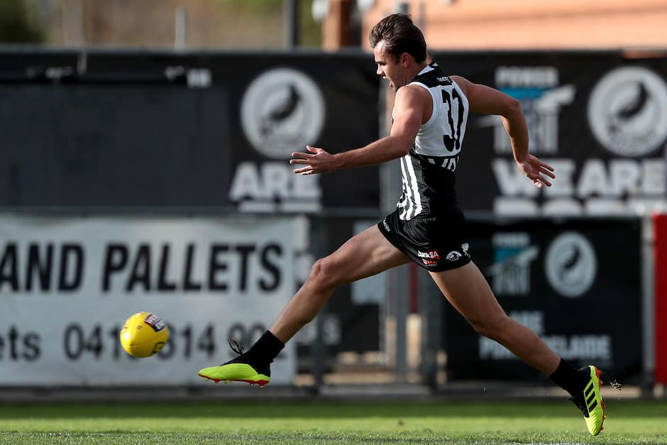 ADELAIDE, AUSTRALIA - June 17: Jake Patmore of the Magpies kicks a goal during the 2018 SANFL round 11 match between the Port Adelaide Magpies and the Sturt Football Club at Alberton Oval on June 17, 2018 in Adelaide, Australia. (Photo by James Elsby/AFL Media)