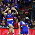 MELBOURNE, AUSTRALIA - JUNE 23: Billy Gowers of the Bulldogs celebrates after kicking a goal during the 2018 AFL round 14 match between the Western Bulldogs and the North Melbourne Kangaroos at Etihad Stadium on June 23, 2018 in Melbourne, Australia. (Photo by Scott Barbour/AFL Media)