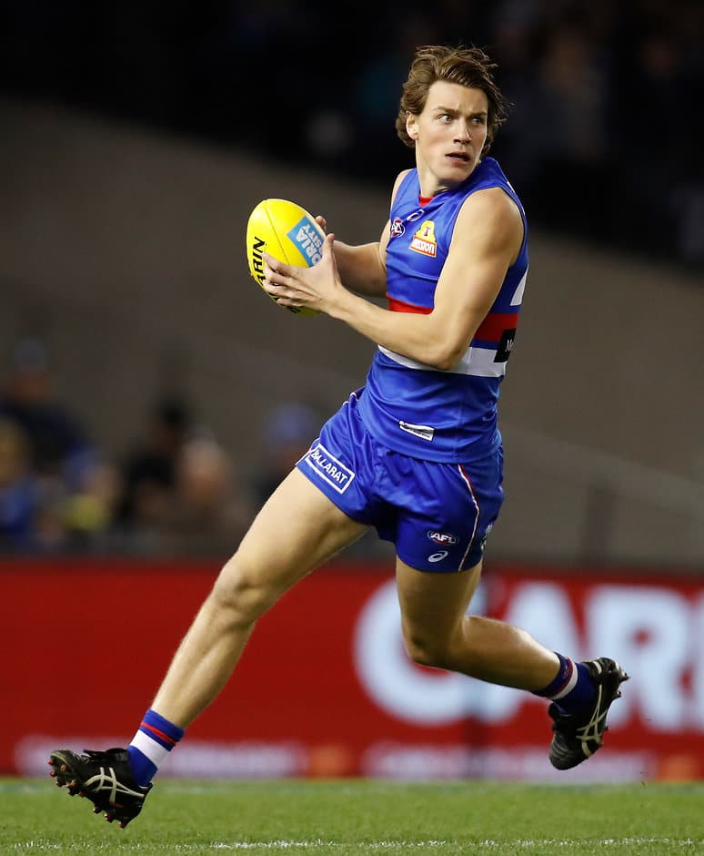 The 19-year-old posting career highs in disposals and marks in Friday night's win over Geelong. (Photo: AFL Media) - Western Bulldogs