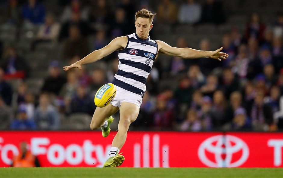 Jordan Cunico in action against the Western Bulldogs last year. - Geelong Cats