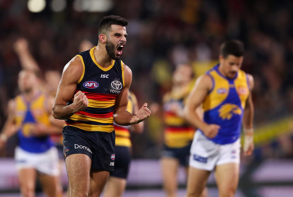 ADELAIDE, AUSTRALIA - JUNE 30: Wayne Milera of the Crows reacts to the finals siren and victory during the 2018 AFL round15 match between the Adelaide Crows and the West Coast Eagles at the Adelaide Oval on June 30, 2018 in Adelaide, Australia. (Photo by AFL Media)