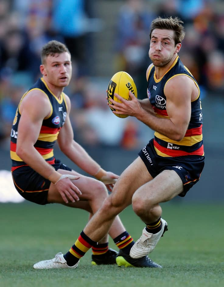 ADELAIDE, AUSTRALIA - JUNE 30: Richard Douglas of the Crows during the 2018 AFL round15 match between the Adelaide Crows and the West Coast Eagles at the Adelaide Oval on June 30, 2018 in Adelaide, Australia. (Photo by AFL Media)