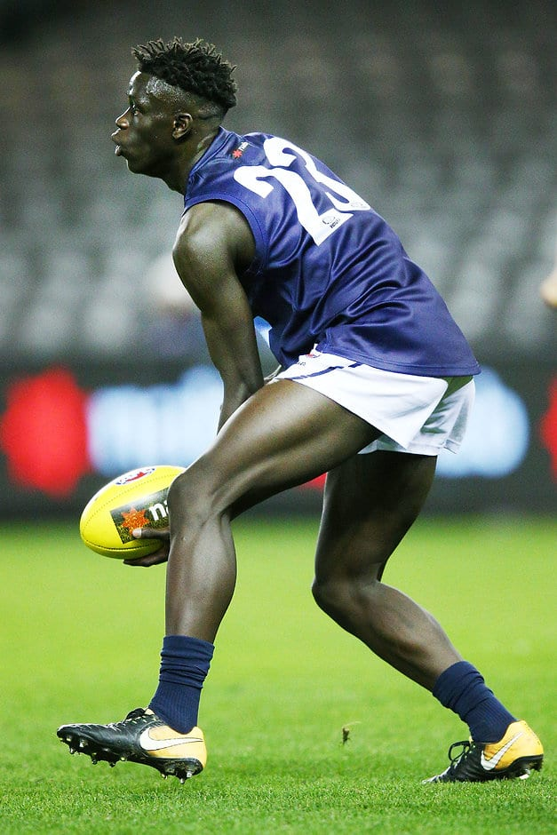 MELBOURNE, AUSTRALIA - JULY 04: Buku Khamis of Vic Metro looks upfield during the U18 AFL Championship match between Vic Metro and South Australia at Etihad Stadium on July 4, 2018 in Melbourne, Australia.  (Photo by Michael Dodge/Getty Images)