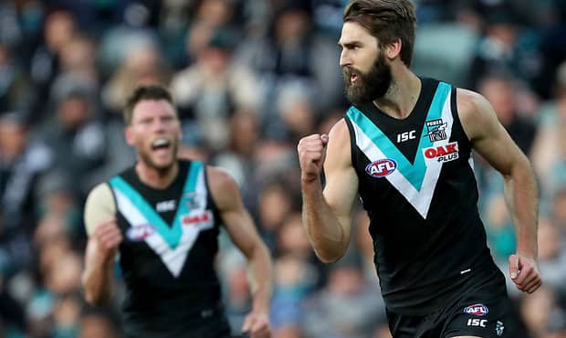 ADELAIDE, AUSTRALIA - JULY 07: Justin Westhoff of the Power celebrates a goal during the 2018 AFL round 16 match between the Port Adelaide Power and the St Kilda Saints at Adelaide Oval on July 07, 2018 in Adelaide, Australia. (Photo by James Elsby/AFL Media)