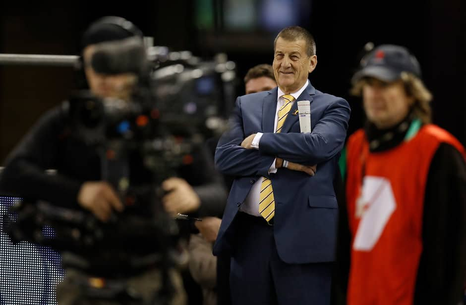 MELBOURNE, AUSTRALIA - JULY 07: Jeff Kennett looks on during the 2018 AFL round 16 match between the Western Bulldogs and the Hawthorn Hawks at Etihad Stadium on July 07, 2018 in Melbourne, Australia. (Photo by Michael Willson/AFL Media)