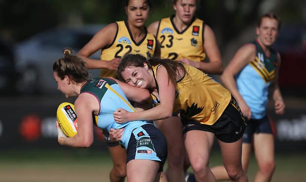 WA recorded its first win of the NAB AFLW Under-18 Championships on Wednesday. - Fremantle,Fremantle Dockers