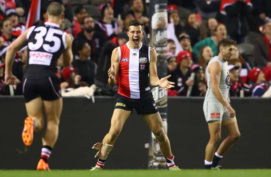 MELBOURNE, AUSTRALIA - JULY 13: Rowan Marshall of the Saints celebrates after kicking a goal during the 2018 AFL round 17 match between the St Kilda Saints and the Carlton Blues at Etihad Stadium on July 13, 2018 in Melbourne, Australia. (Photo by Scott Barbour/AFL Media)