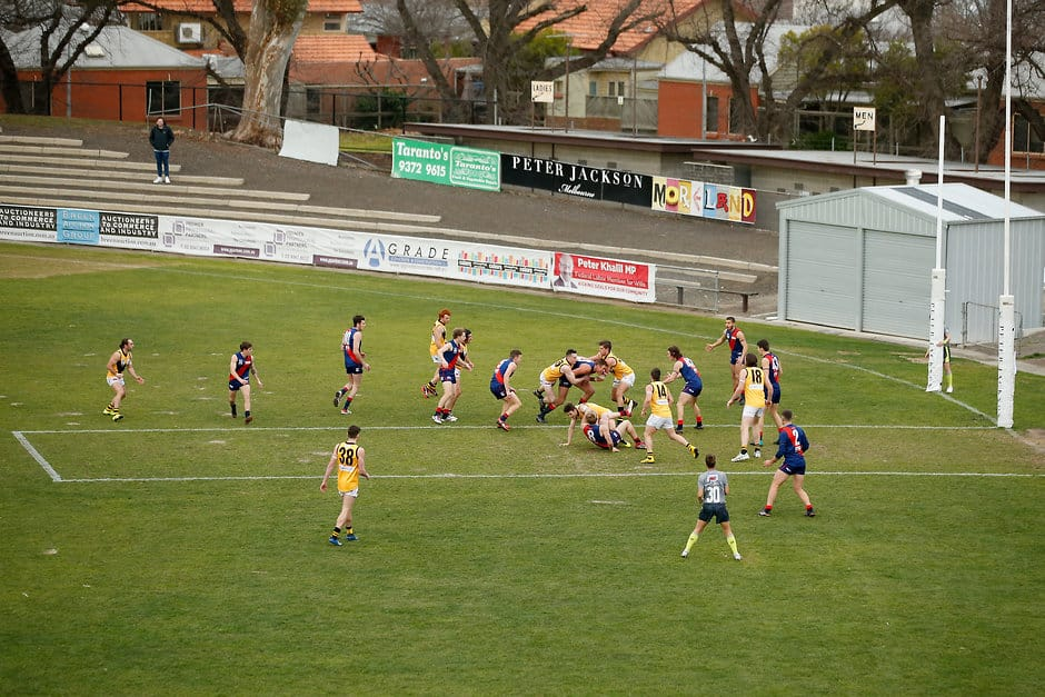 The extended goalsquare trialed in the VFL - Geelong Cats