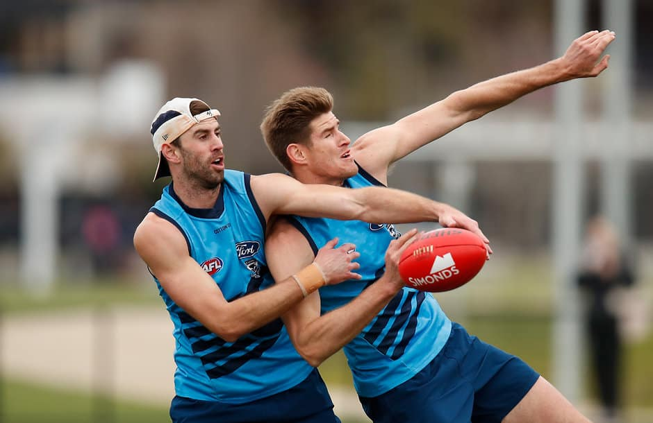 Ryan Abbott (left) and Zac Smith both have injury concerns - AFL,Geelong Cats,Rhys Stanley,Zac Smith,Darcy Fort,Esava Ratugolea,Injuries