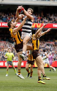 Tom Hawkins takes a strong pack mark - Geelong Cats
