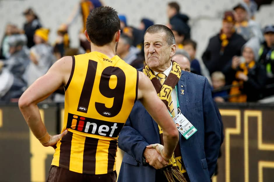 MELBOURNE, AUSTRALIA - AUGUST 11: Jeff Kennett, President of the Hawks congratulates Jack Gunston of the Hawks during the 2018 AFL round 21 match between the Hawthorn Hawks and the Geelong Cats at the Melbourne Cricket Ground on August 11, 2018 in Melbourne, Australia. (Photo by Adam Trafford/AFL Media)