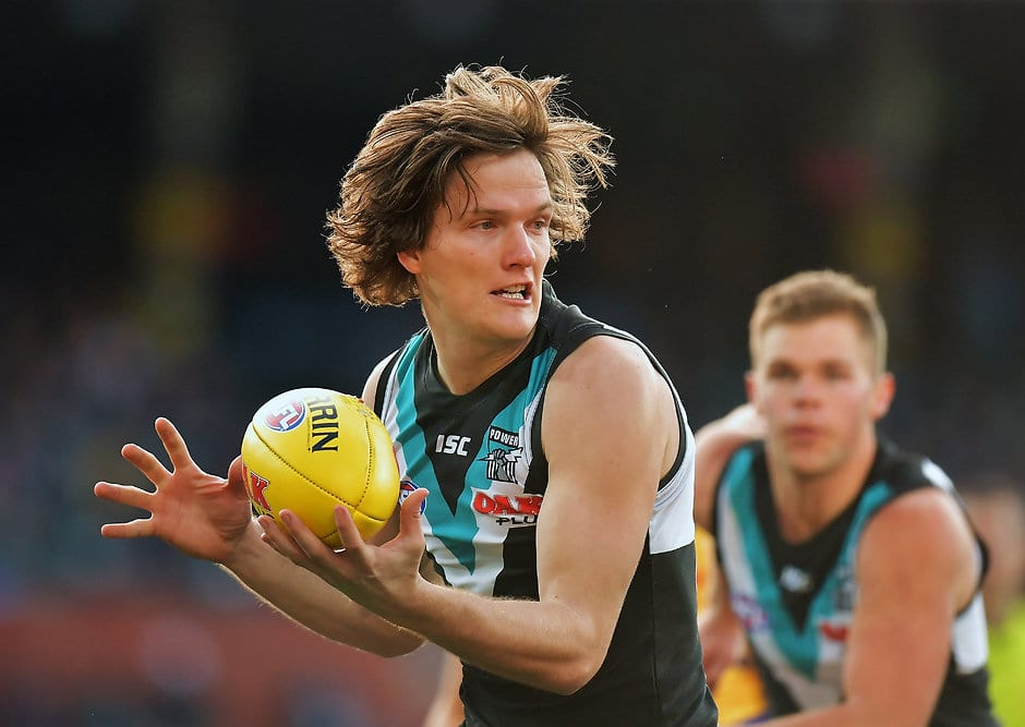 ADELAIDE, AUSTRALIA - AUGUST 11: Jared Polec of the Power competes for the ball during the round 21 AFL match between the Port Adelaide Power and the West Coast Eagles at Adelaide Oval on August 11, 2018 in Adelaide, Australia.  (Photo by Daniel Kalisz/Getty Images/AFL Media)