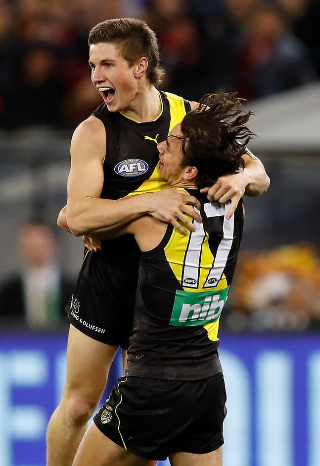 Liam Baker celebrates his first goal at AFL level - AFL,Richmond Tigers,Essendon Bombers