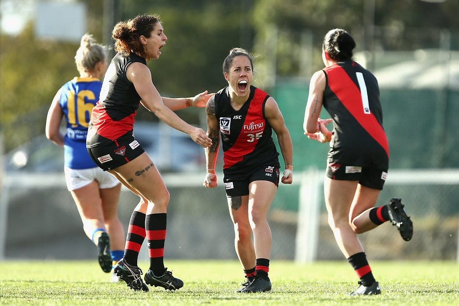 Canadian Valerie Moreau, who plays for Essendon in the VFL Women's competition, hopes to be drafted by an AFLW team - AFLW