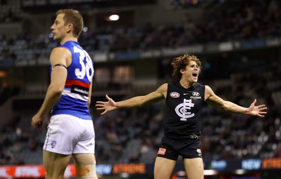 Blues' and Dogs' young stars split the contest