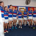 MELBOURNE, AUSTRALIA - AUGUST 19: The Bulldogs sing the team song during the 2018 AFL round 22 match between the Carlton Blues and the Western Bulldogs at Etihad Stadium on August 19, 2018 in Melbourne, Australia. (Photo by Michael Willson/AFL Media)