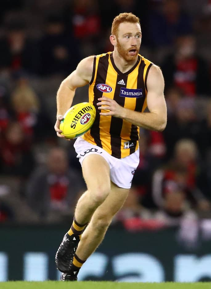 Conor Glass played four senior games for the Hawks in 2018.  - Conor Glass