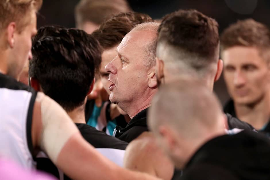 ADELAIDE, AUSTRALIA - AUGUST 24: Ken Hinkley, Senior Coach of the Power during the 2018 AFL round 23 match between the Port Adelaide Power and the Essendon Bombers at Adelaide Oval on August 24, 2018 in Adelaide, Australia. (Photo by James Elsby/AFL Media)