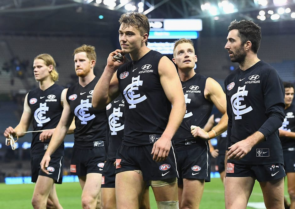 Blues trudge off the field after their disastrous finish to 2018 - AFL,Carlton Blues