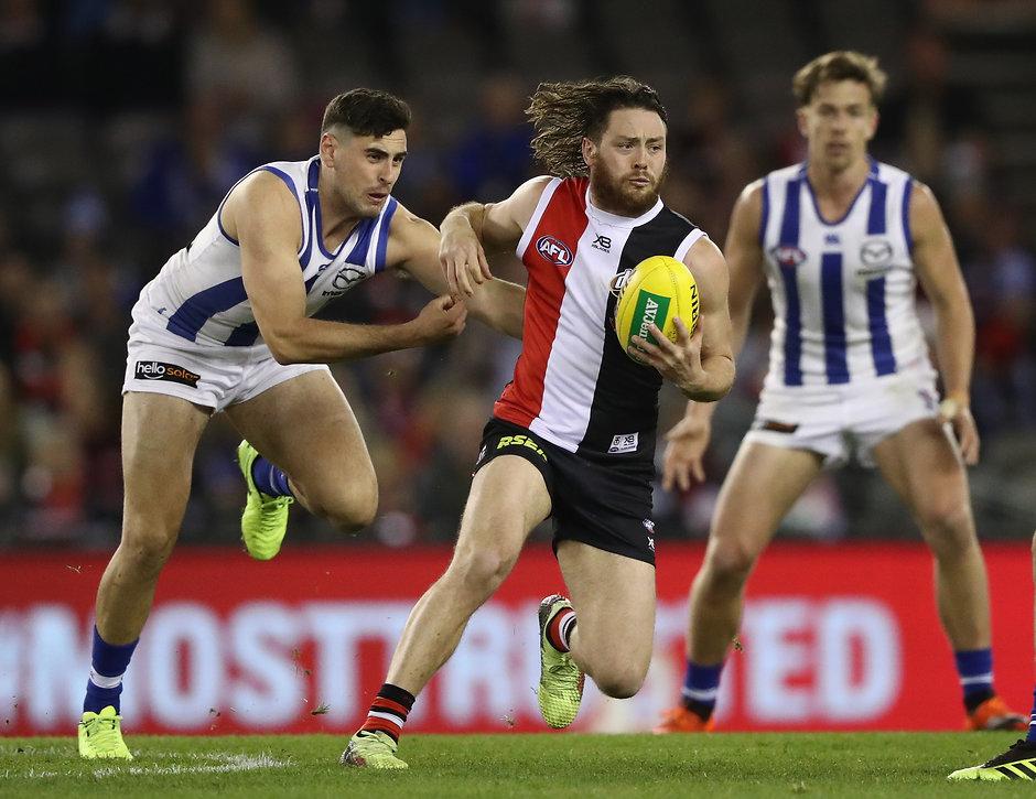 St Kilda midfielder Jack Steven in action - AFL,Jack Steven,St Kilda Saints,Geelong Cats
