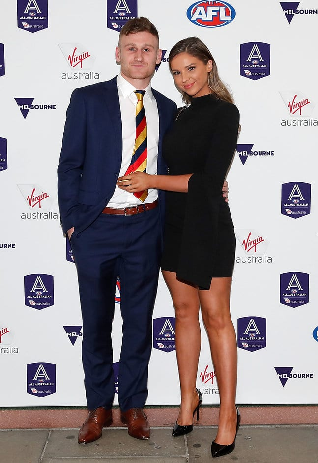 MELBOURNE, AUSTRALIA - AUGUST 29: Rory Laird of the Crows and partner arrive during the 2018 Virgin Australia All Australian Awards at the Palais Theatre on August 29, 2018 in Melbourne, Australia. (Photo by Adam Trafford/AFL Media)