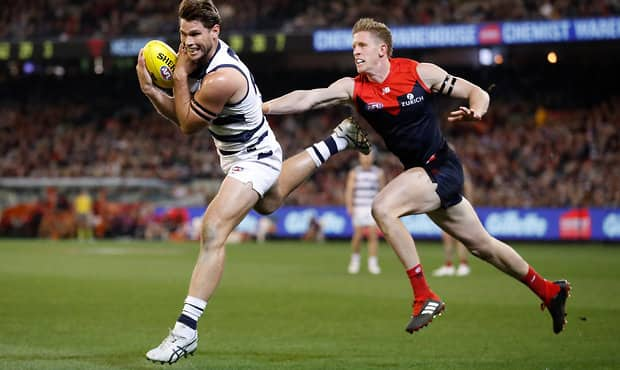 Tom Hawkins was the lone key target against the Demons.  - Geelong Cats