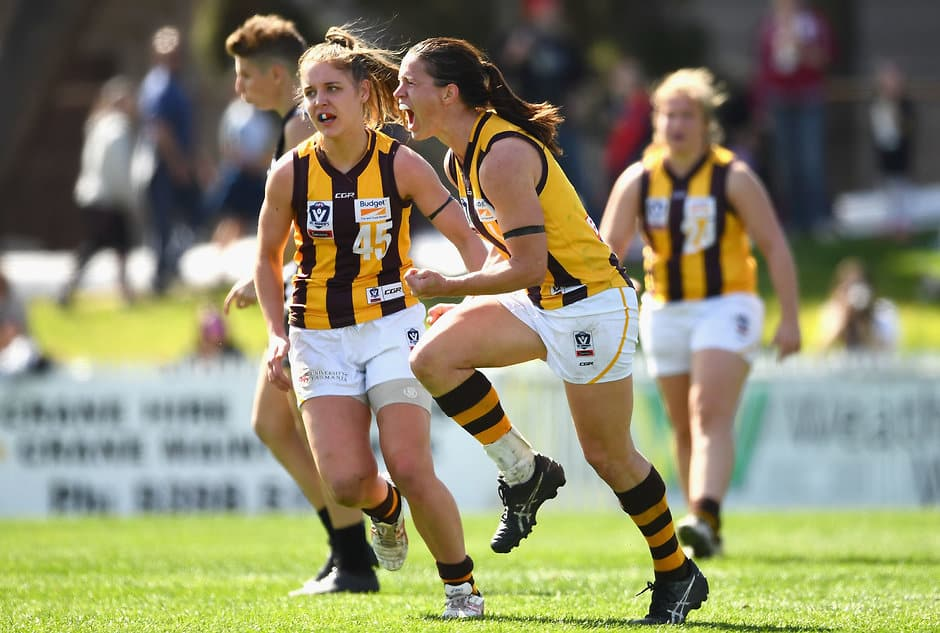 Emma Mackie celebrates a goal as the Hawks advanced to the VFLW Grand Final - AFLW,Adelaide Crows,Brisbane Lions,Carlton Blues,Collingwood Magpies,Fremantle Dockers,Geelong Cats,GWS Giants,Melbourne Demons,North Melbourne Kangaroos,Western Bulldogs