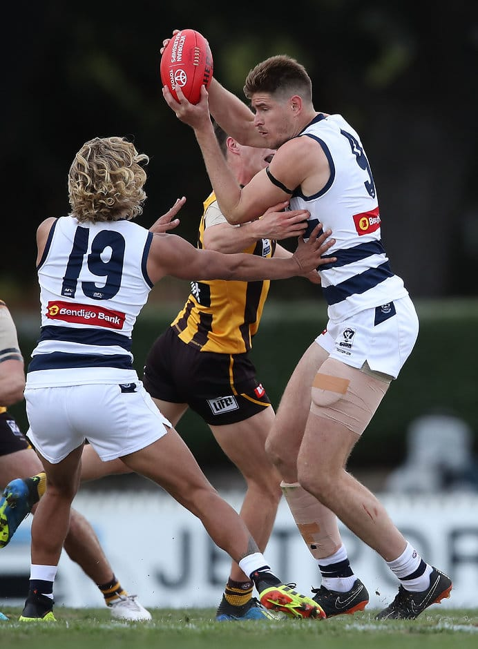 Zac Smith was a standout for the Cats with 20 disposals and 10 clearances - Geelong Cats