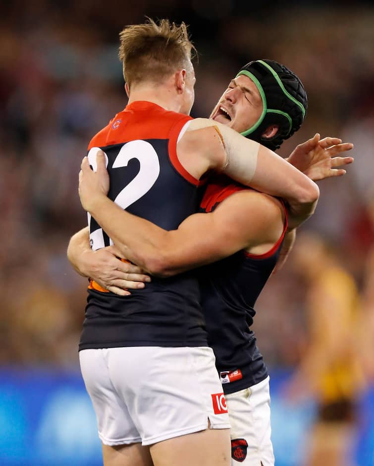 Aaron vandenBerg and Angus Brayshaw celebrate on Friday night - AFL,Hawthorn Hawks,Melbourne Demons